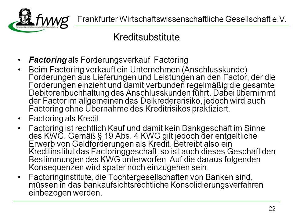 Kreditsubstitute Factoring als Forderungsverkauf Factoring