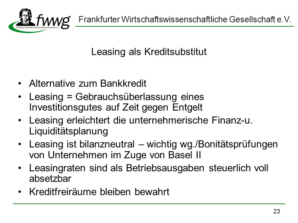 Leasing als Kreditsubstitut