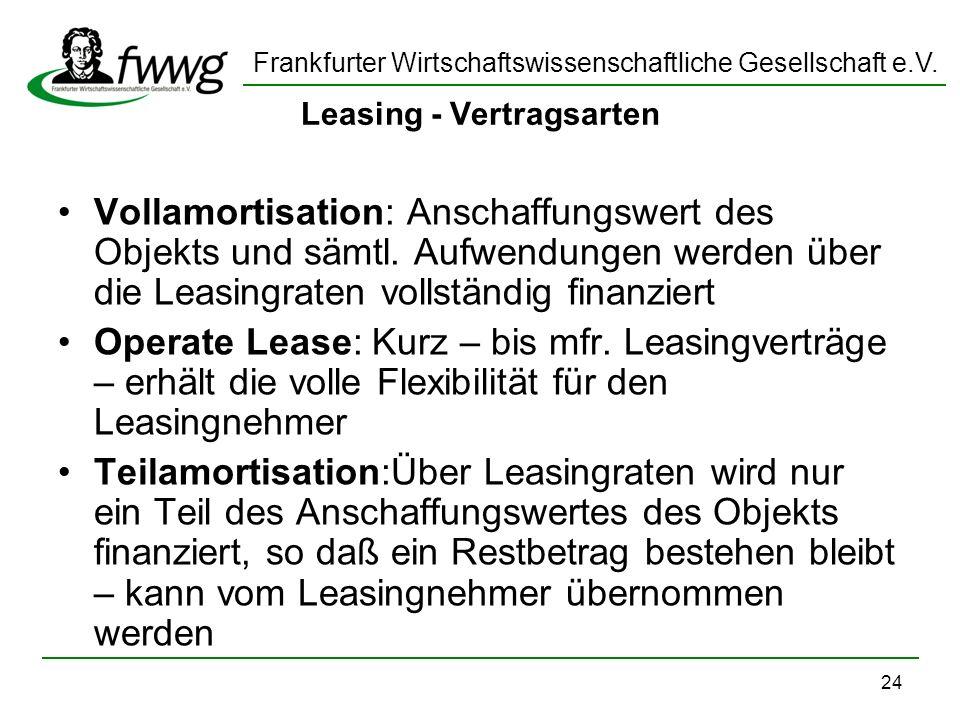 Leasing - Vertragsarten