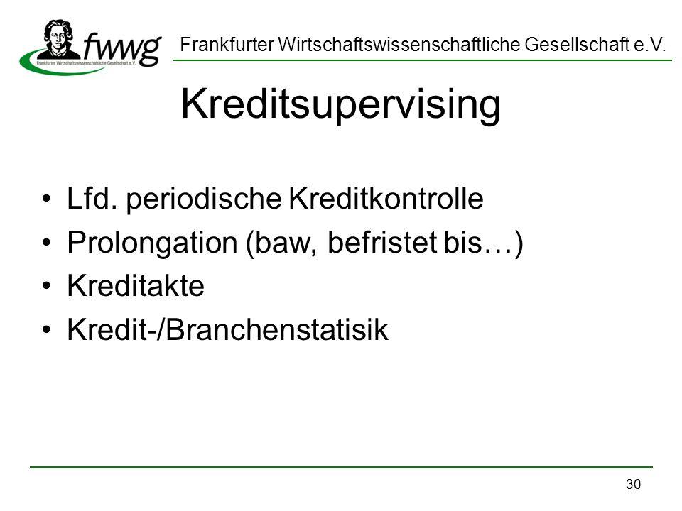Kreditsupervising Lfd. periodische Kreditkontrolle