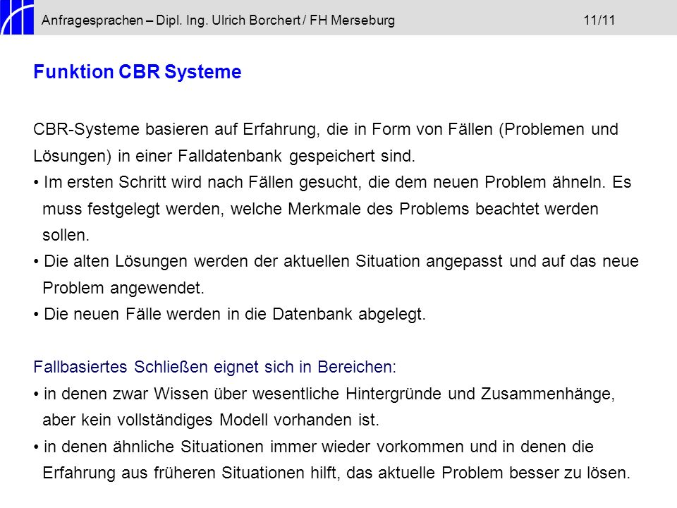 Anfragesprachen – Dipl. Ing. Ulrich Borchert / FH Merseburg 11/11