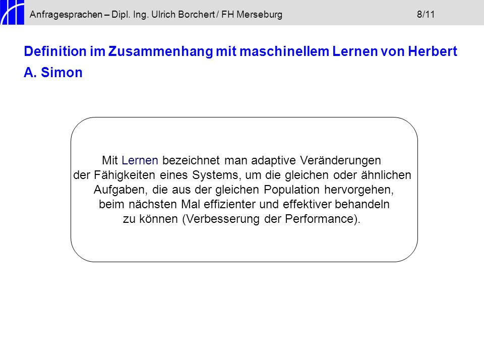 Anfragesprachen – Dipl. Ing. Ulrich Borchert / FH Merseburg 8/11