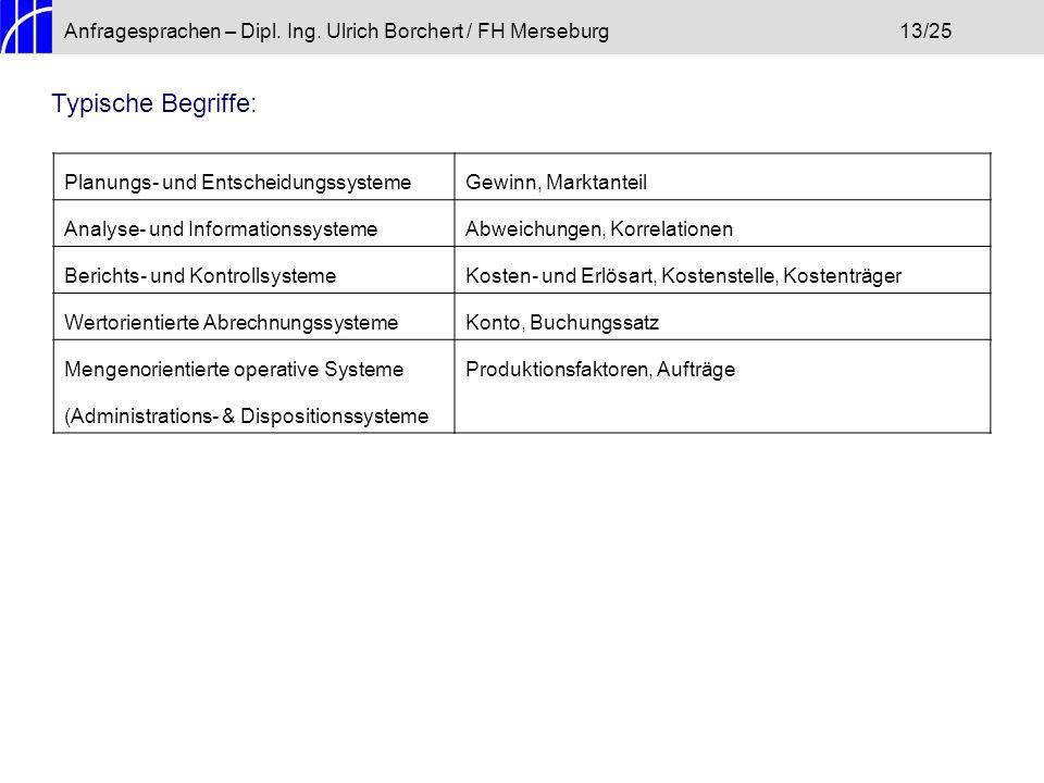 Anfragesprachen – Dipl. Ing. Ulrich Borchert / FH Merseburg 13/25