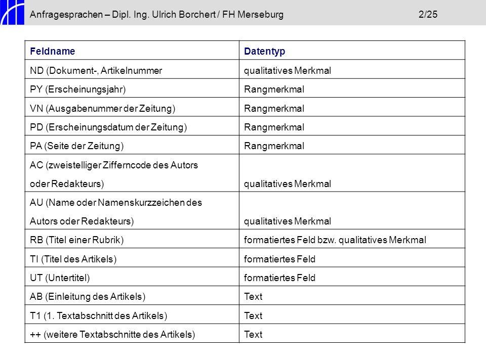 Anfragesprachen – Dipl. Ing. Ulrich Borchert / FH Merseburg 2/25