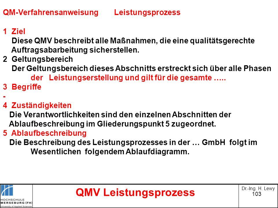 QMV Leistungsprozess QM-Verfahrensanweisung Leistungsprozess 1 Ziel