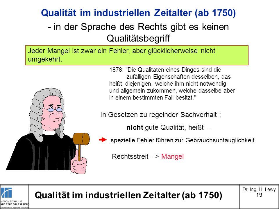 Qualität im industriellen Zeitalter (ab 1750)