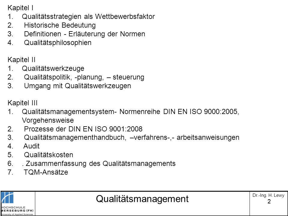 Qualitätsmanagement Kapitel I