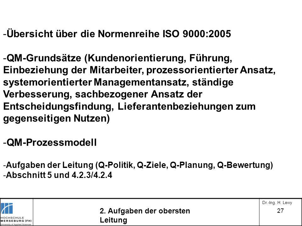 Übersicht über die Normenreihe ISO 9000:2005
