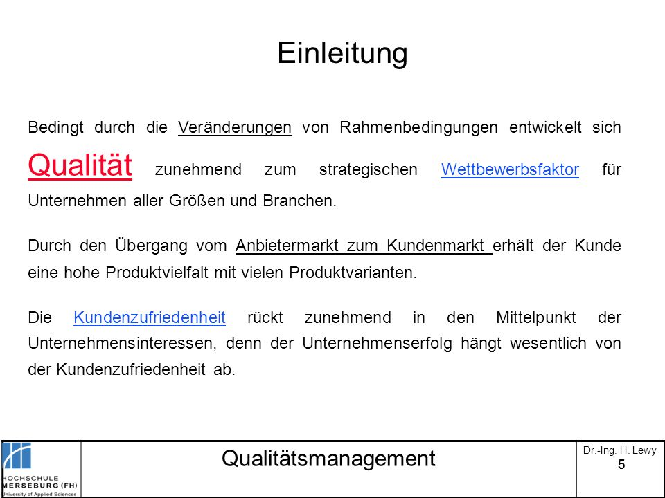 Einleitung Qualitätsmanagement