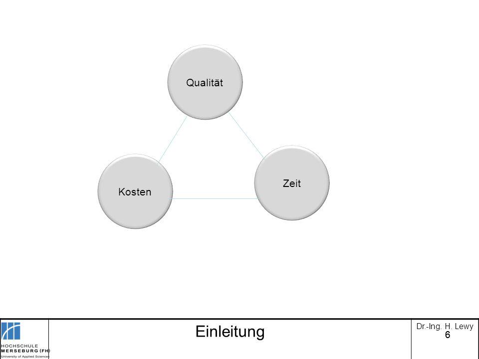 Qualität Zeit Kosten Einleitung Dr.-Ing. H. Lewy 6