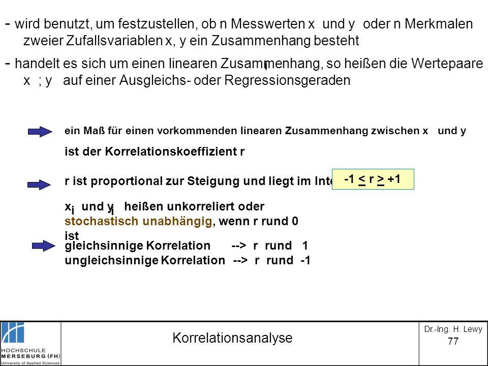 - wird benutzt, um festzustellen, ob n Messwerten x und y oder n Merkmalen zweier Zufallsvariablen x, y ein Zusammenhang besteht