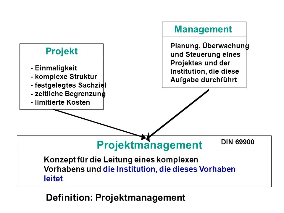 Projektmanagement Management Projekt Definition: Projektmanagement