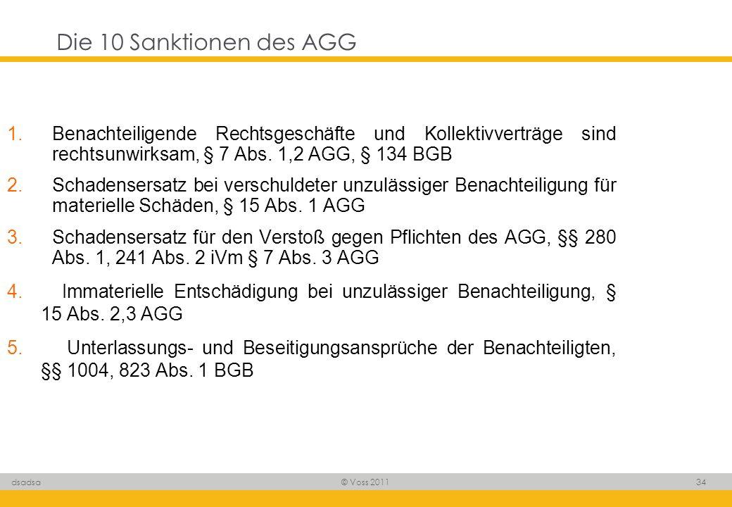 Die 10 Sanktionen des AGGBenachteiligende Rechtsgeschäfte und Kollektivverträge sind rechtsunwirksam, § 7 Abs. 1,2 AGG, § 134 BGB.