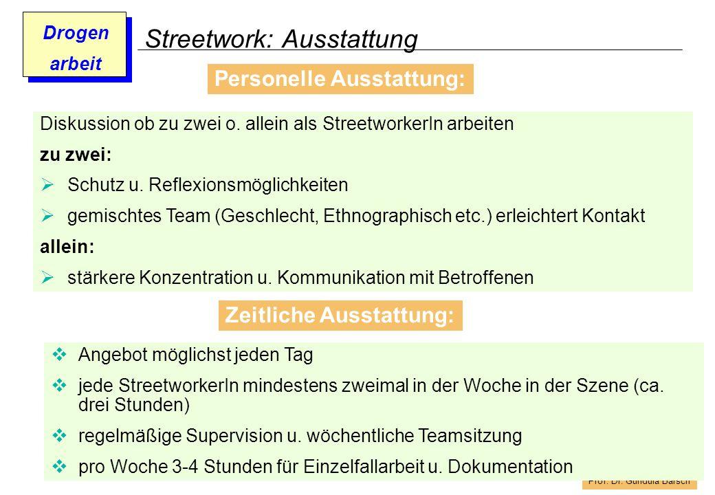 Streetwork: Ausstattung