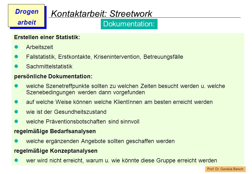 Kontaktarbeit: Streetwork