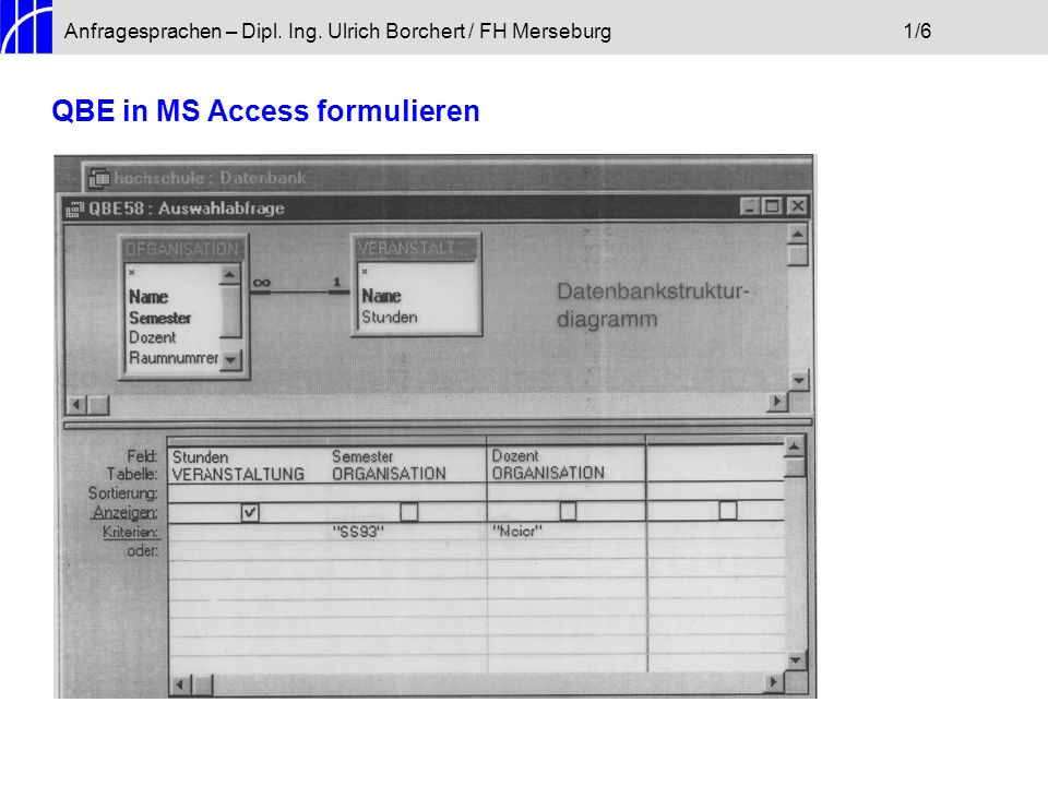 QBE in MS Access formulieren
