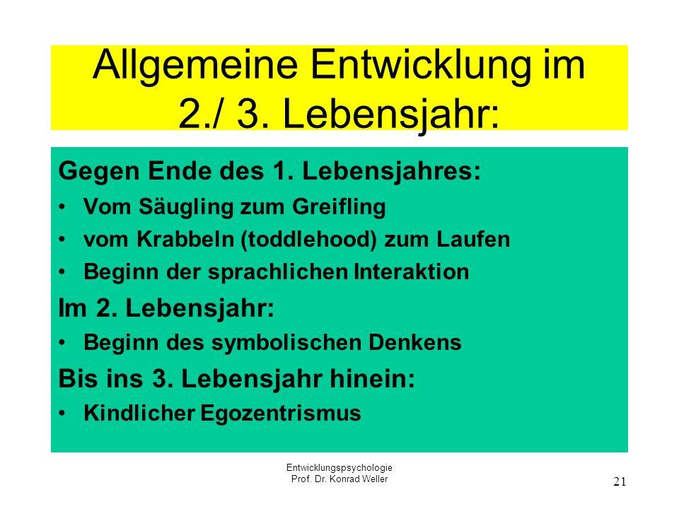 Allgemeine Entwicklung im 2./ 3. Lebensjahr: