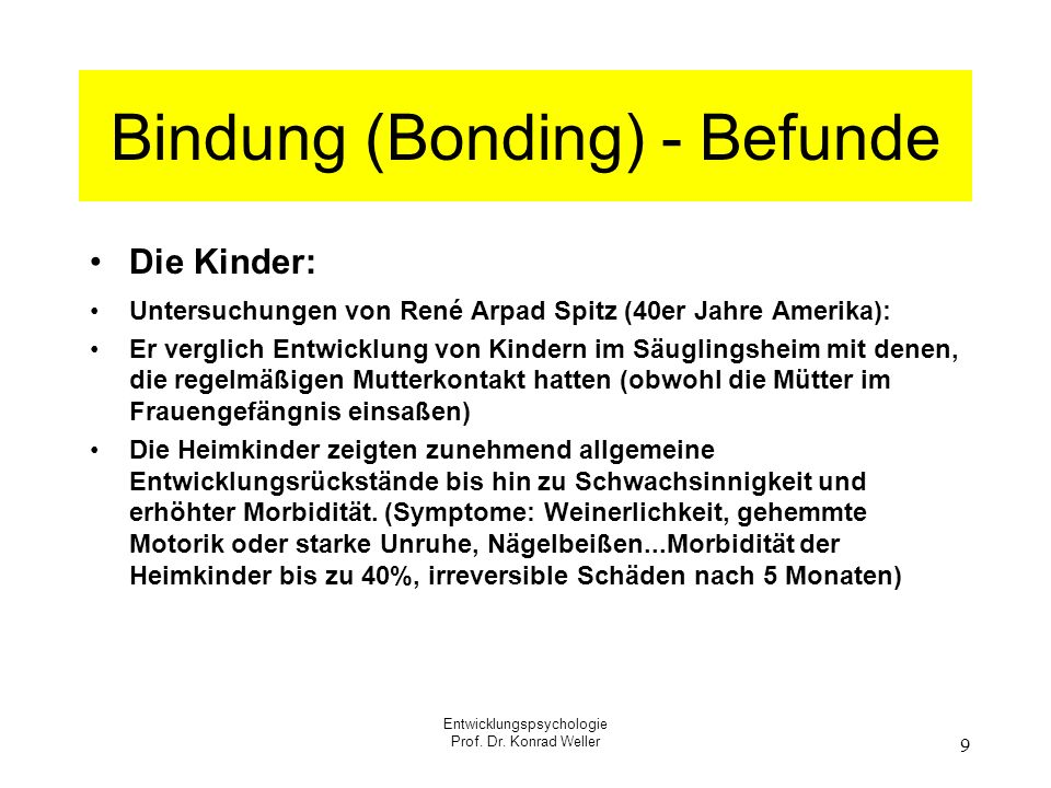 Bindung (Bonding) - Befunde