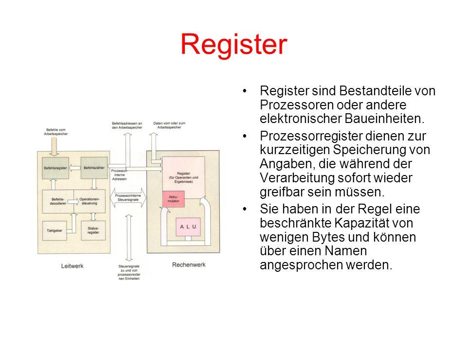 Register Register sind Bestandteile von Prozessoren oder andere elektronischer Baueinheiten.