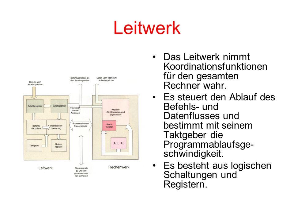 Leitwerk Das Leitwerk nimmt Koordinationsfunktionen für den gesamten Rechner wahr.