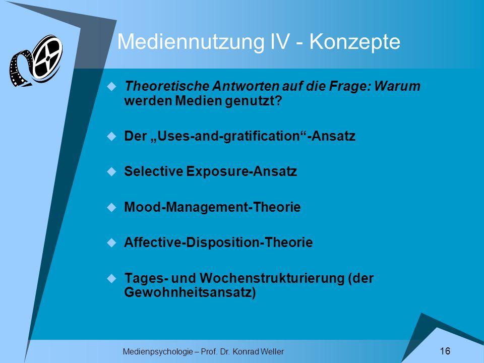 Mediennutzung IV - Konzepte