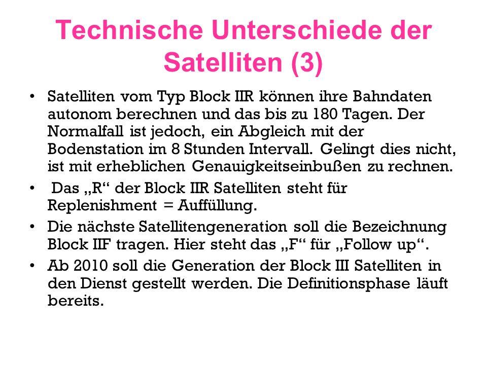 Technische Unterschiede der Satelliten (3)