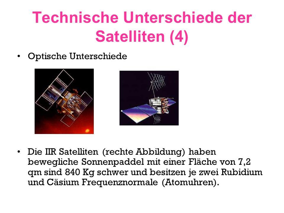 Technische Unterschiede der Satelliten (4)