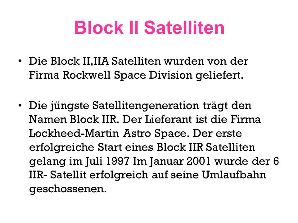 Block II Satelliten Die Block II,IIA Satelliten wurden von der Firma Rockwell Space Division geliefert.