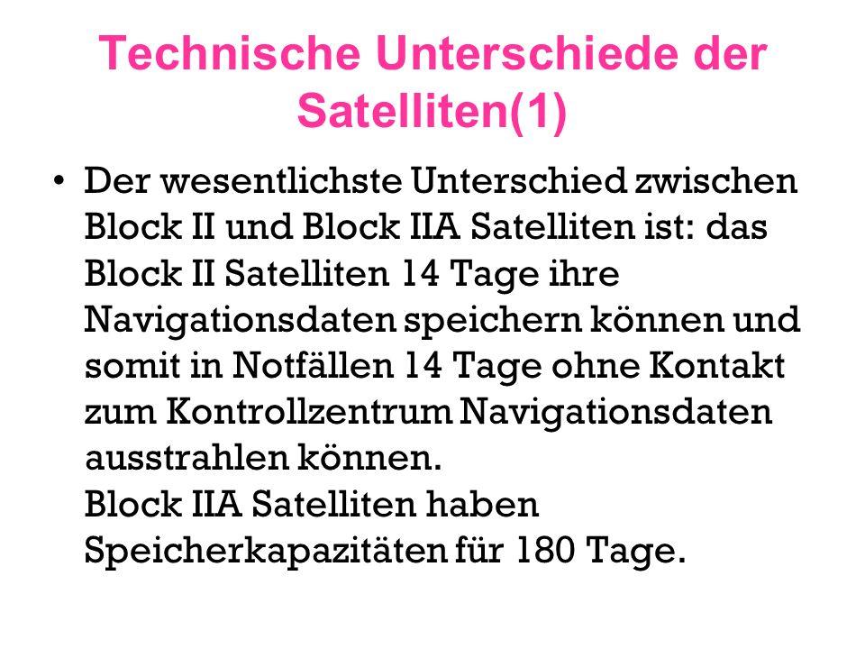 Technische Unterschiede der Satelliten(1)