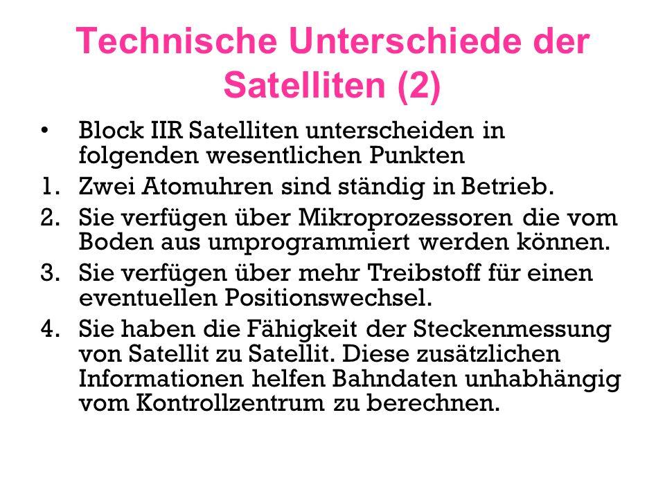 Technische Unterschiede der Satelliten (2)