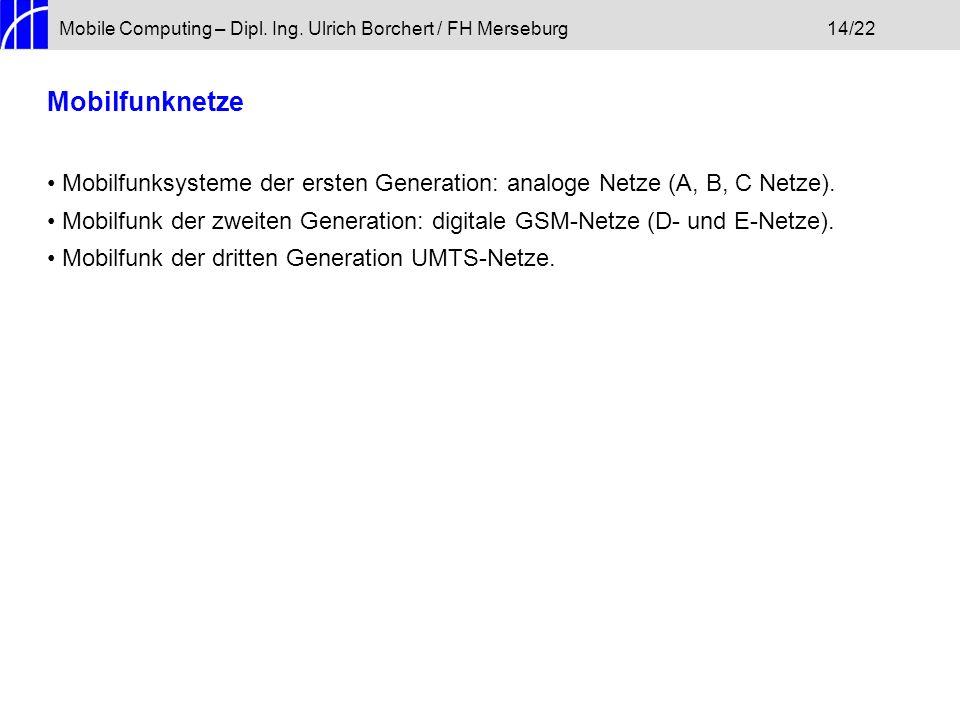 Mobile Computing – Dipl. Ing. Ulrich Borchert / FH Merseburg 14/22