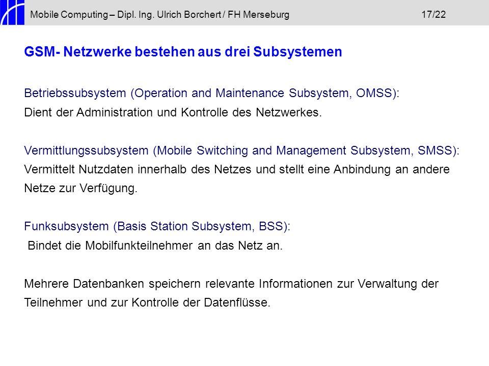 GSM- Netzwerke bestehen aus drei Subsystemen