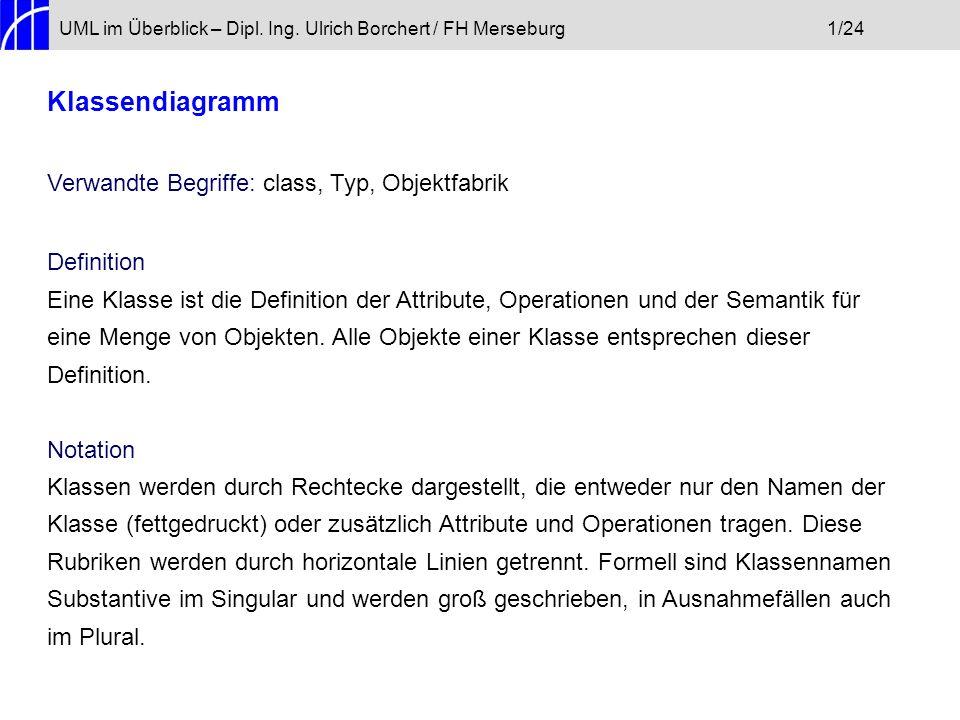 Klassendiagramm Verwandte Begriffe: class, Typ, Objektfabrik