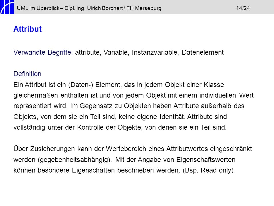 UML im Überblick – Dipl. Ing. Ulrich Borchert / FH Merseburg 14/24