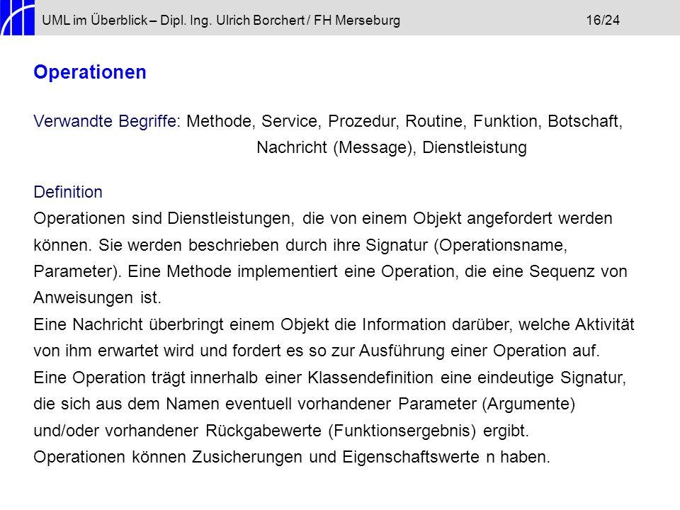 UML im Überblick – Dipl. Ing. Ulrich Borchert / FH Merseburg 16/24