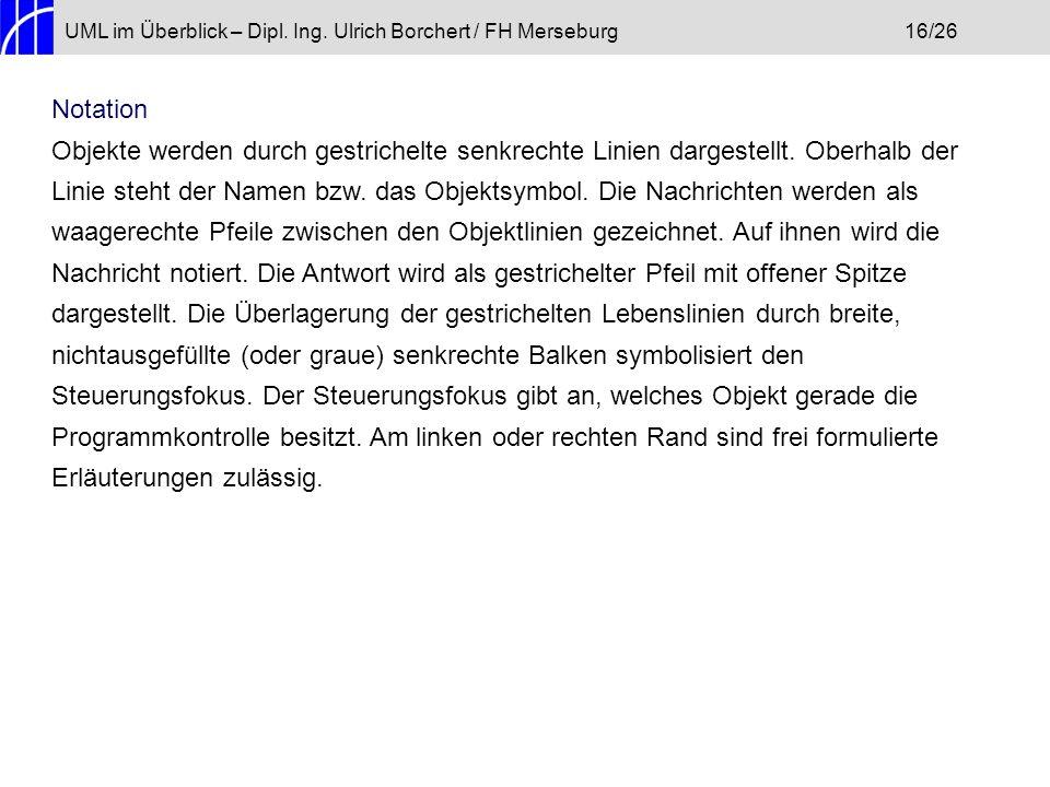 UML im Überblick – Dipl. Ing. Ulrich Borchert / FH Merseburg 16/26