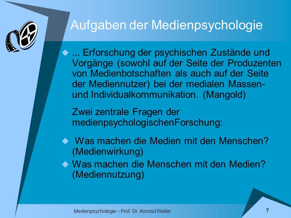 Aufgaben der Medienpsychologie
