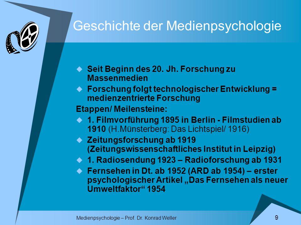 Geschichte der Medienpsychologie