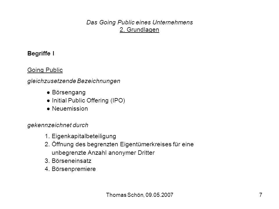 Das Going Public eines Unternehmens 2. Grundlagen