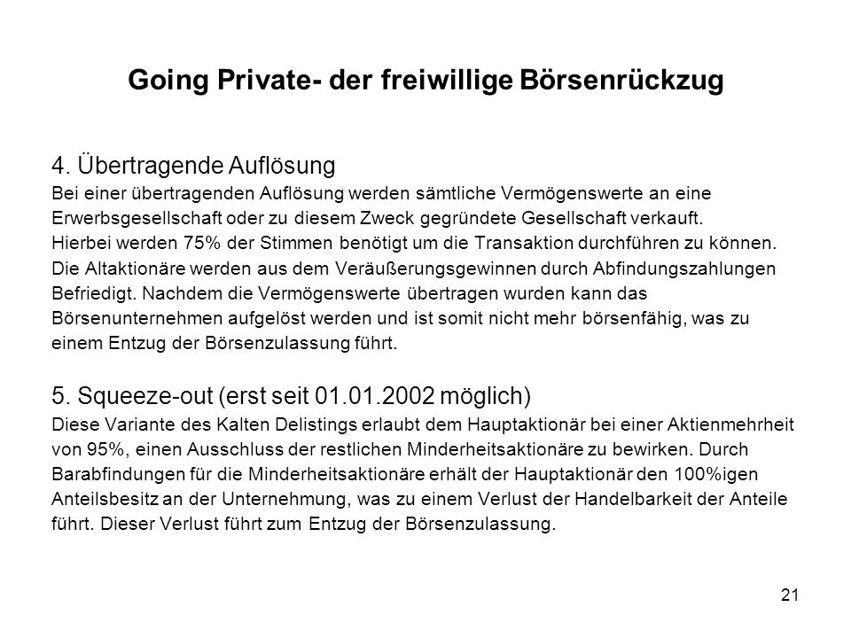 Going Private- der freiwillige Börsenrückzug