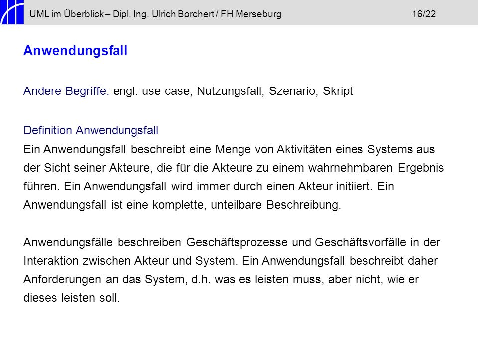 UML im Überblick – Dipl. Ing. Ulrich Borchert / FH Merseburg 16/22