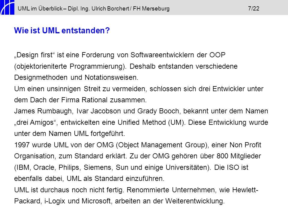 UML im Überblick – Dipl. Ing. Ulrich Borchert / FH Merseburg 7/22