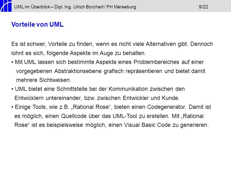 UML im Überblick – Dipl. Ing. Ulrich Borchert / FH Merseburg 9/22