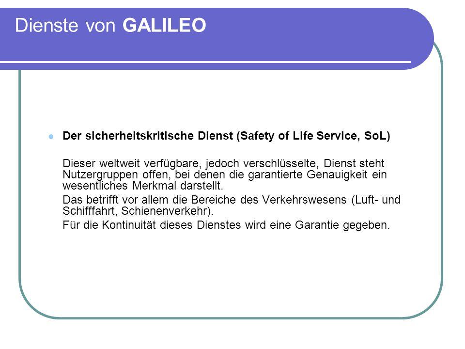 Dienste von GALILEO Der sicherheitskritische Dienst (Safety of Life Service, SoL)