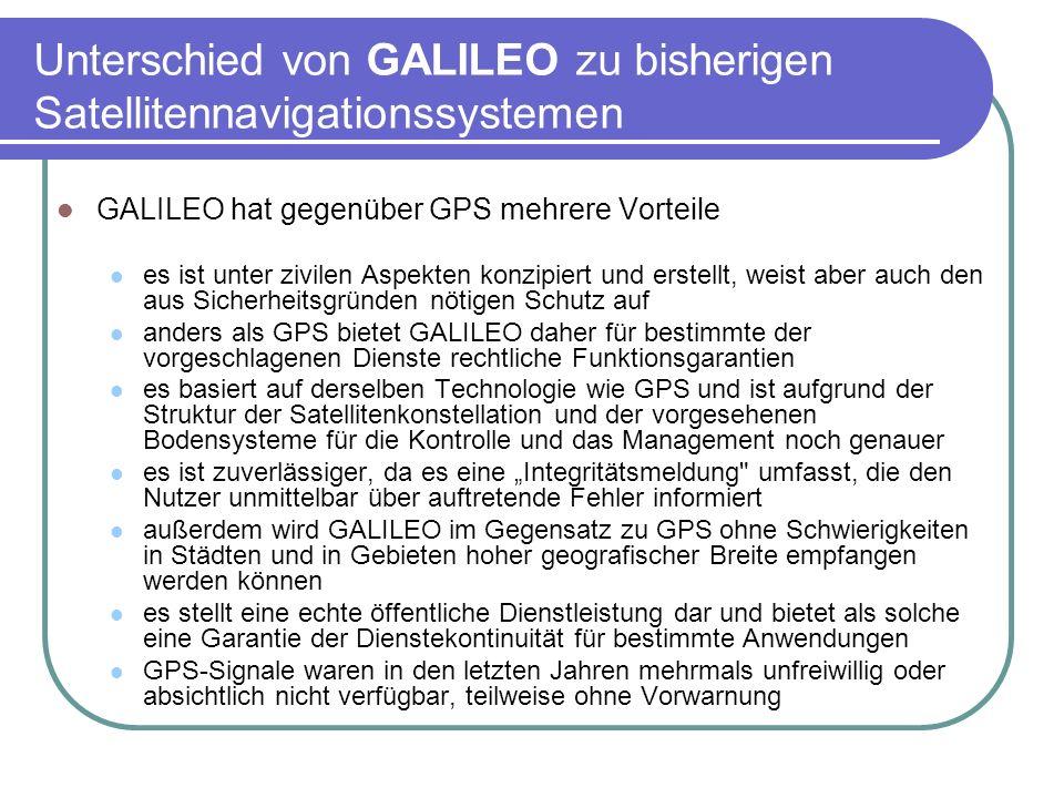 Unterschied von GALILEO zu bisherigen Satellitennavigationssystemen