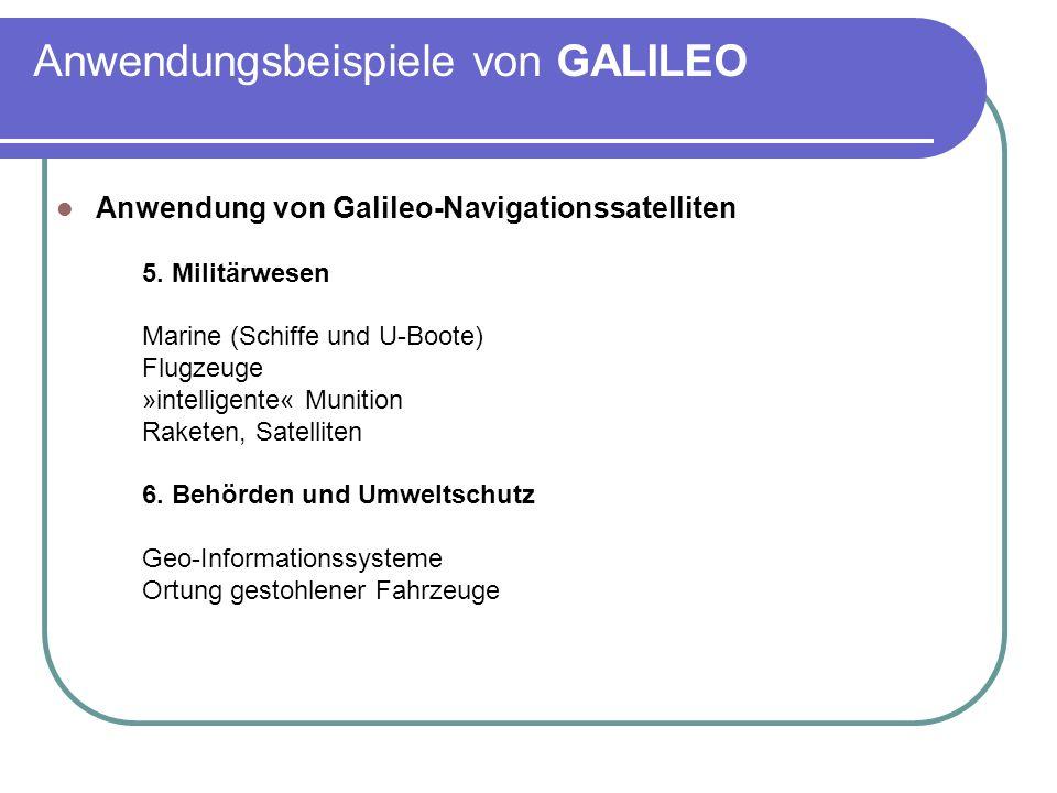 Anwendungsbeispiele von GALILEO