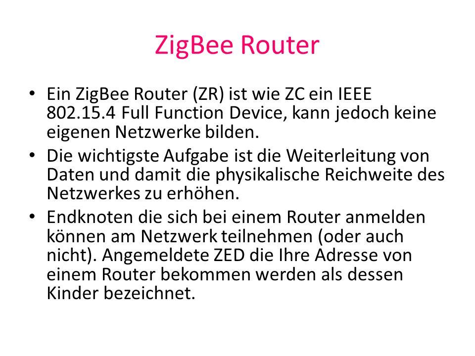 ZigBee Router Ein ZigBee Router (ZR) ist wie ZC ein IEEE 802.15.4 Full Function Device, kann jedoch keine eigenen Netzwerke bilden.