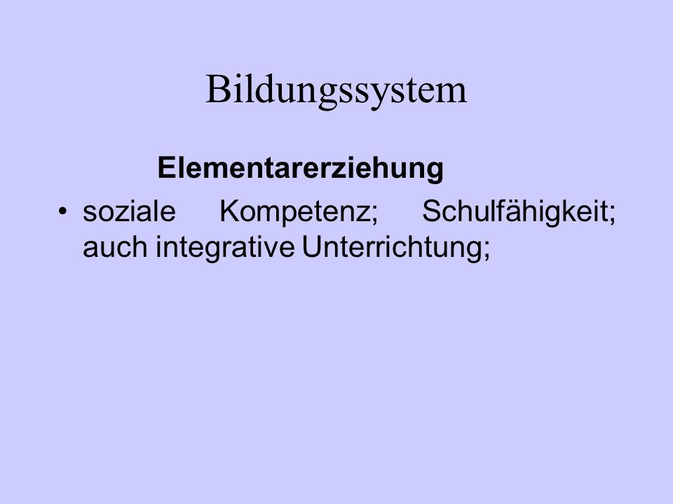 Bildungssystem Elementarerziehung