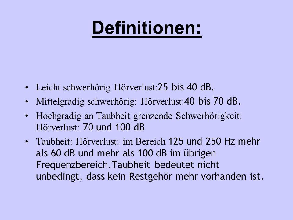 Definitionen: Leicht schwerhörig Hörverlust:25 bis 40 dB.