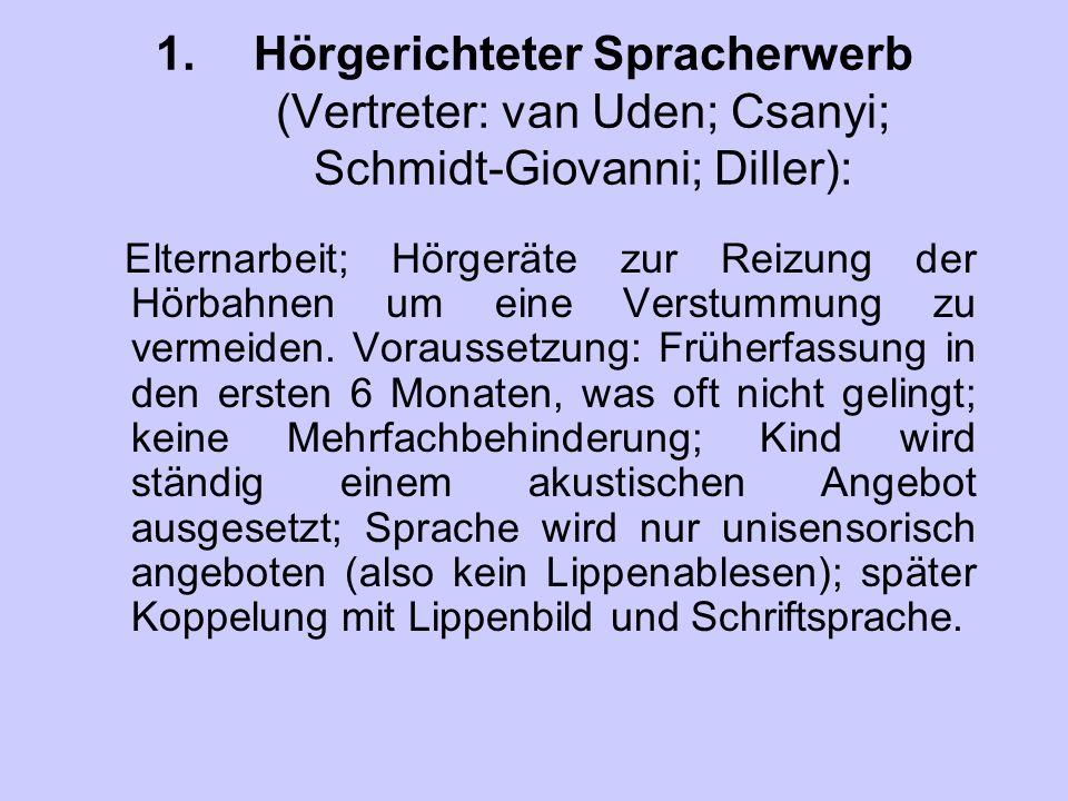 Hörgerichteter Spracherwerb (Vertreter: van Uden; Csanyi; Schmidt-Giovanni; Diller):